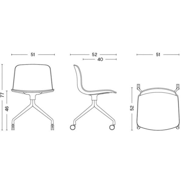 La chaise à roulettes About a Chair par HAY - réf. AAC14 et AAC 14 DUO - assise en polypropylène, piétement en aluminium, muni d