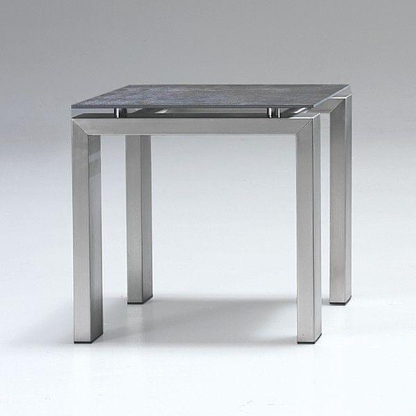 La table wings chrominox plateau en c ramique structure for Table exterieur inox