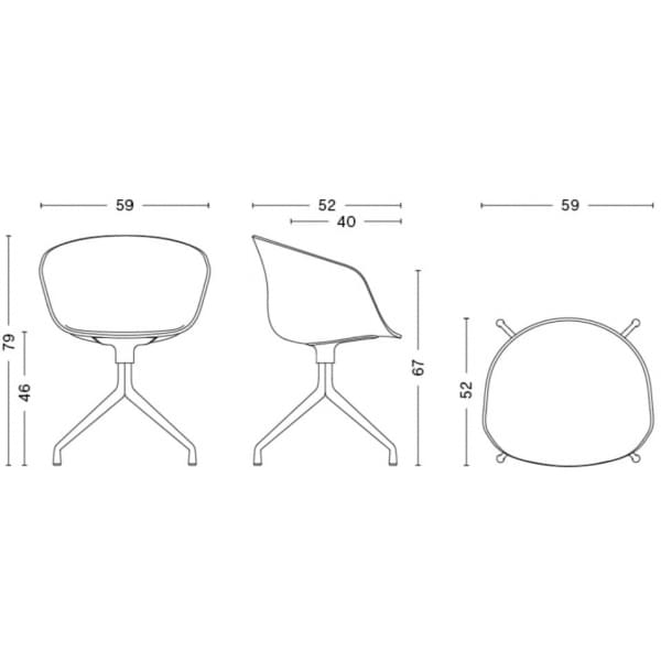 Le fauteuil About a Chair par HAY - réf. AAC20 - assise en polypropylène, coussin fixe en option, piétement en aluminium - l'art