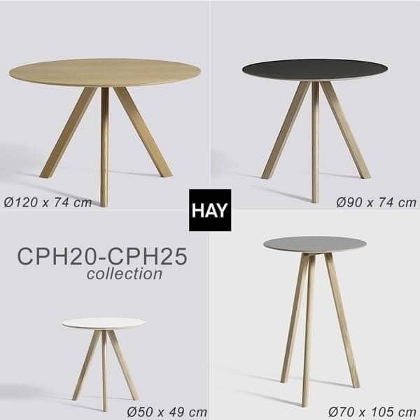 The COPENHAGUE runde bord CPH20 og CHP25, laget i heltre og kryssfiner, av Ronan og Erwan Bouroullec - deco og design