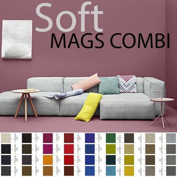 MAGS SOFA SOFT, con costuras invertidas, combinaciones, telas y pieles, HAY