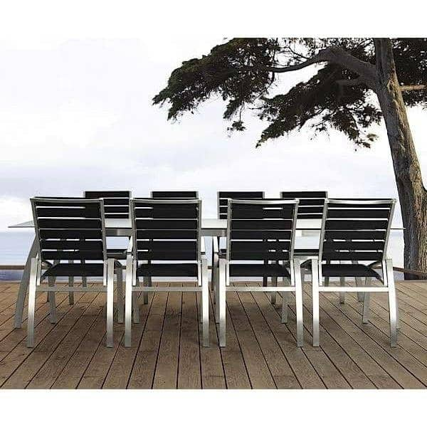 Chair, ALCEDO-EB, stainless steel and elastic belts, indoor and outdoor, made in Europe