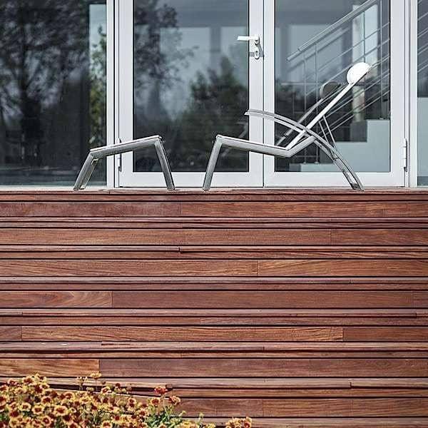 Fauteuil bas multi-positions ALCEDO, inox brossé et BATYLINE, indoor / outdoor, fabriqué en Europe