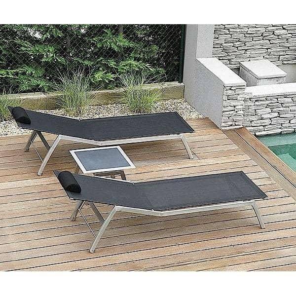 Tumbona, ALCEDO, acero inoxidable y BATYLINE, de interior y al aire libre, hecho en Europa por TODUS - diseñado por JIRI SPANIHEL