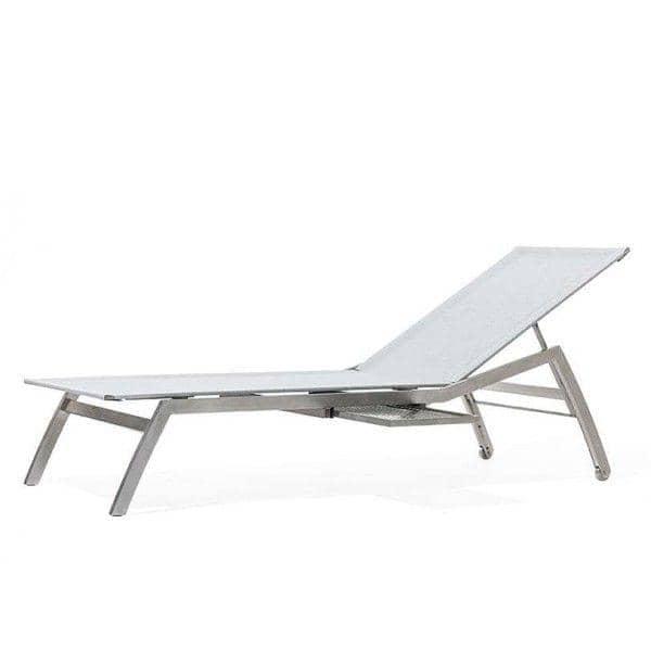 Tumbona con mesa extensible integrada, ALCEDO, acero inoxidable y BATYLINE, de interior y al aire libre, hecho en Europa por TODUS - diseñado por JIRI SPANIHEL