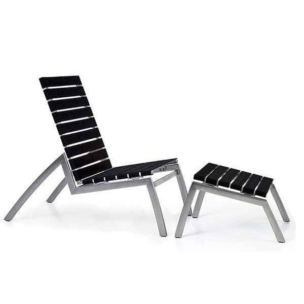 Chaise basse (chauffeuse) ALCEDO-EB, inox brossé et Bandes élastiques, indoor / outdoor, fabriqué en Europe