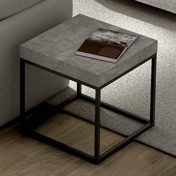 PETRA, mesa de centro y mesa TEMAHOME, aspecto concreto y acero ...