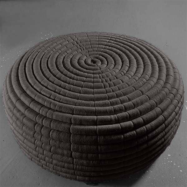 NDEBELE, una mesa otomana o café en lana de merino, hecho a mano ...