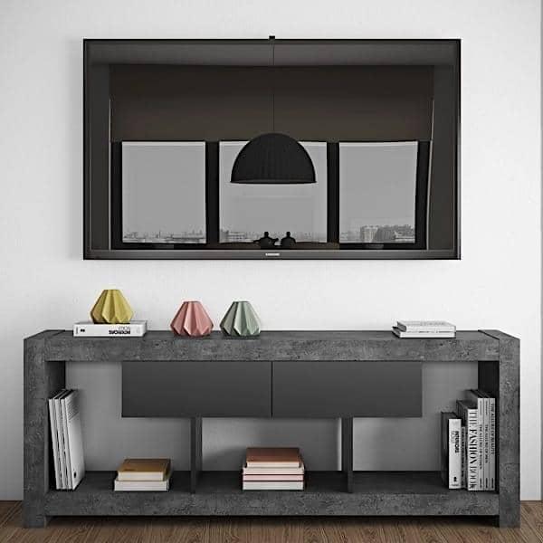NARA, TV bord som finner sin plass mot en vegg eller i midten av stuen, også tilgjengelig i betong aspekt - designet av TEMAHOME