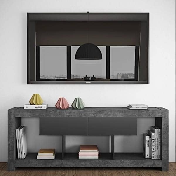 NARA, TV table who finds his place against a wall or in middle of the living room, also available in concrete aspect