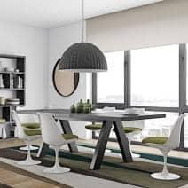 APEX tavolo da pranzo, compatta o estensibile 200/250 cm x 100 cm: aspetto concreto o rovere selvaggio - Progettista: Vincente Délio