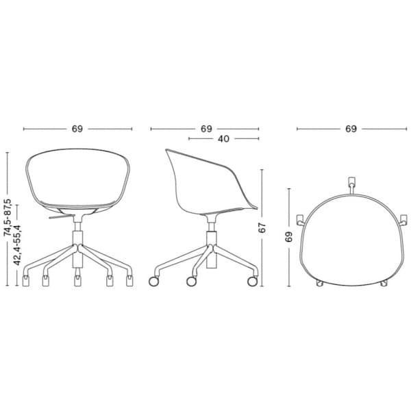 Le fauteuil à roulettes About a Chair par HAY - réf. AAC52 - assise en polypropylène, coussin fixe en option, piétement en alumi
