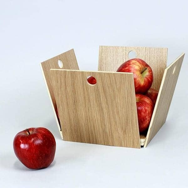 12 Pommes, corbeille à fruits, contreplaqué de chêne, design éco-responsable