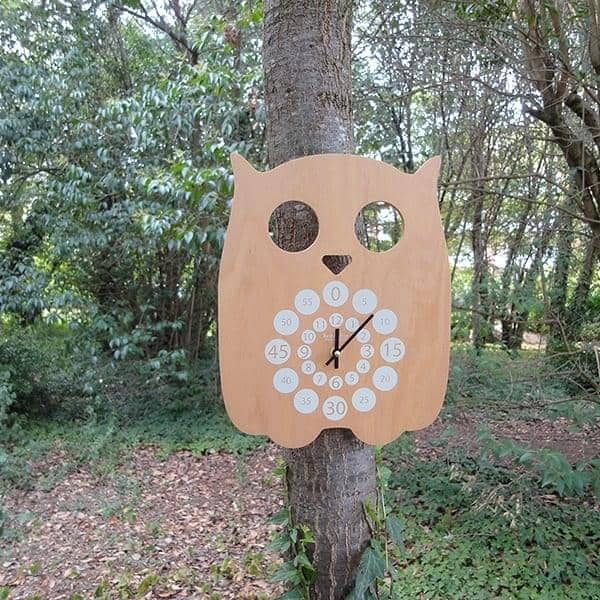 Hiboo, horloge pédagogique, multiplis hêtre, design éco-responsable