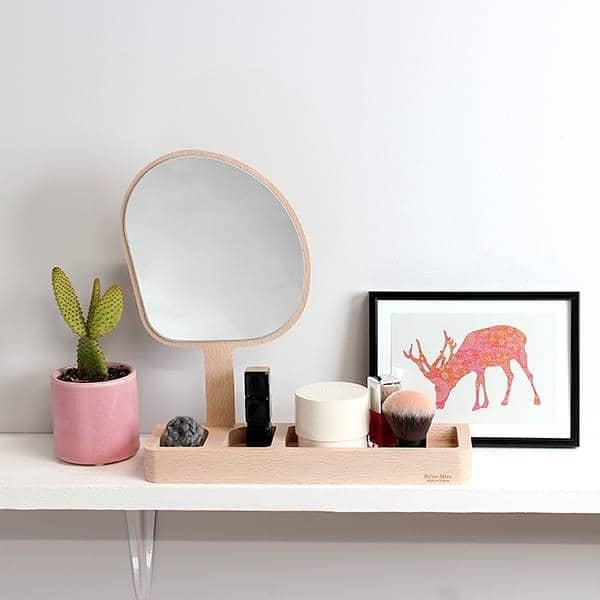 KAGAMI, standing mirror, solid beech and glass, eco-design