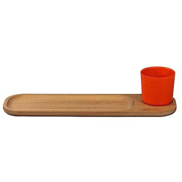 BISTRO 2, beechwood serving board with cup, solid beech and bamboo fibre