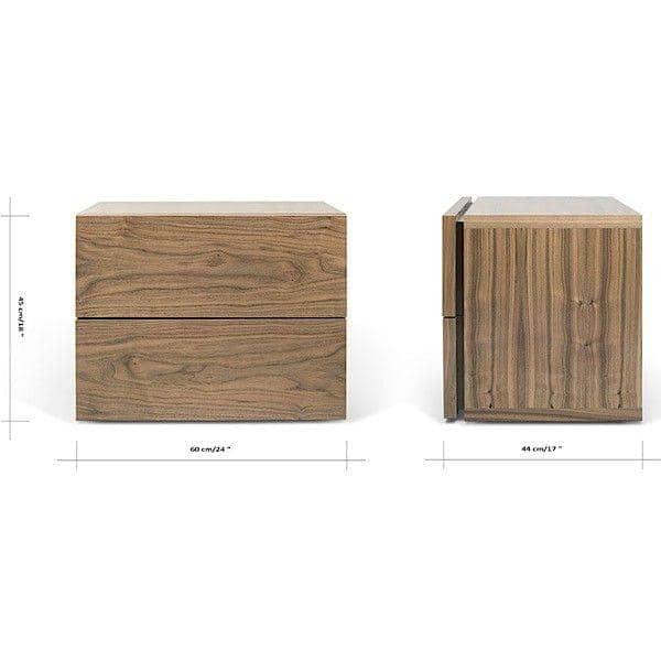 AURORA, une table de chevet 2 tiroirs, généreuse et design, disponible en plusieurs finitions