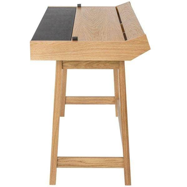 RETRO, ein funktioneller Schreibtisch 3 Klappen, Eiche und Leder