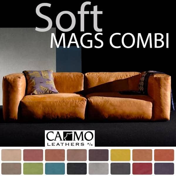 MAGS SOFA SOFT, modulære kombinasjoner, i lær, HAY