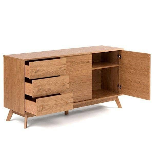 Buffet KENSAY, 145 x 40 x 75 cm, en chêne, 3 tiroirs, 2 portes, étagère ajustable
