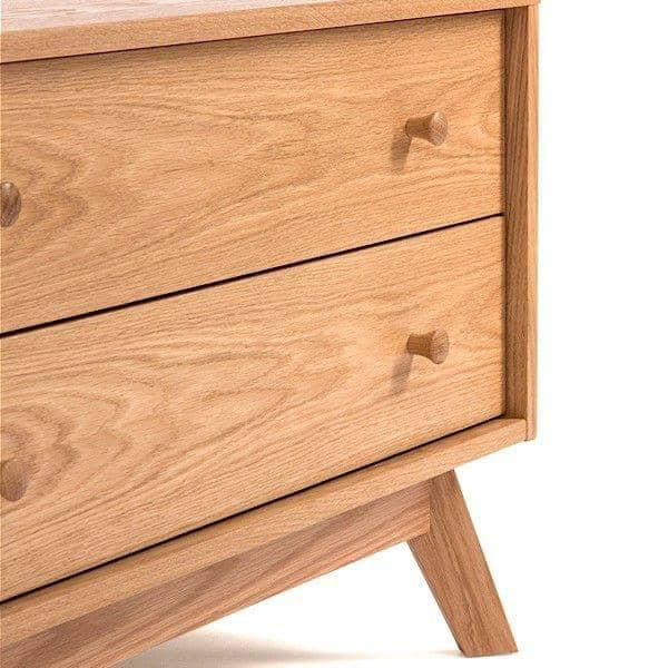 Meuble TV KENSAY, 130 x 45 x 50 cm, en chêne, 2 tiroirs, étagère ajustable