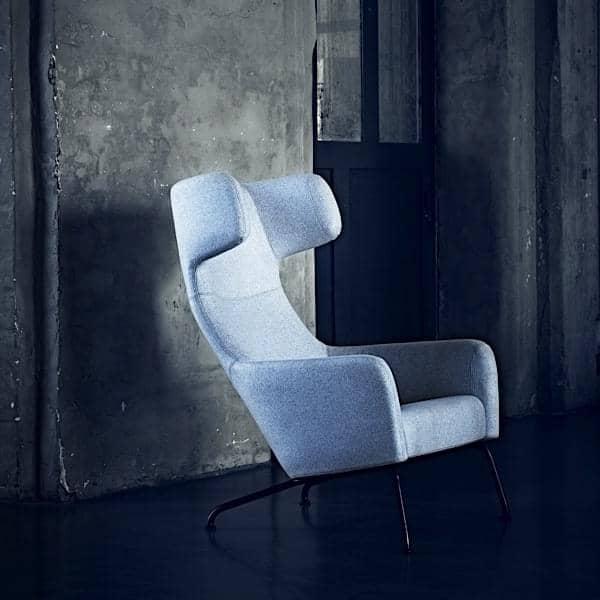 HAVANA, fauteuil avec piétement en acier, dossier haut