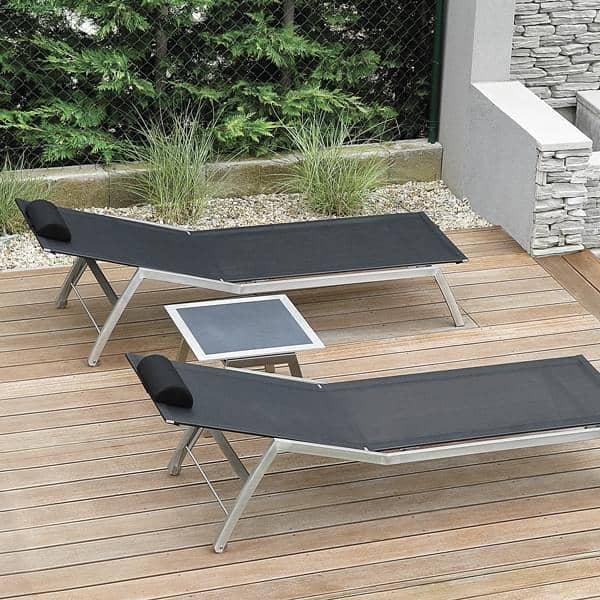 Tables d'appoint ALCEDO FRAMELESS, plateau céramique et structure inox