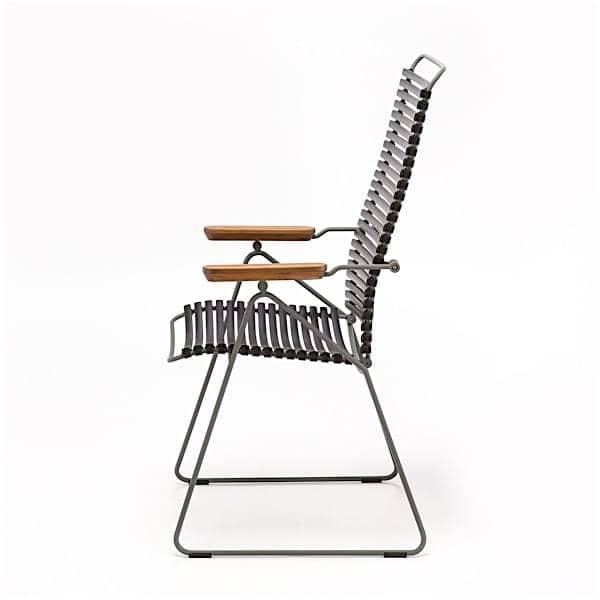Chaise CLICK SYSTEM, dossier haut, réglable 7 positions, résine et acier, outdoor
