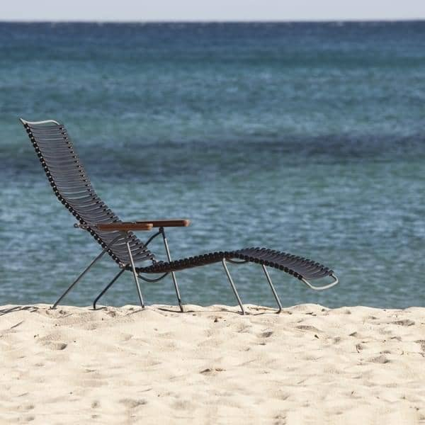 Sun lounge stol, CLICK SYSTEM, harpiks og stål, utendørs, ved HOUE