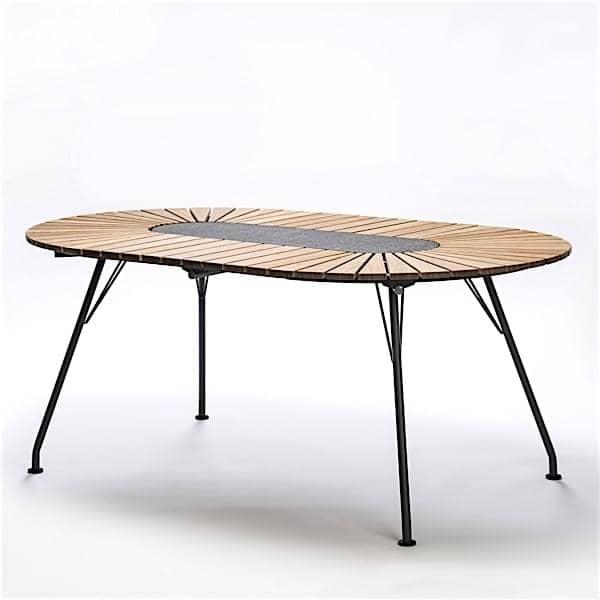 Table ovale ECLIPSE, bambou et granit, acier, outdoor