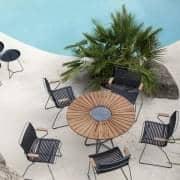 Runder Esstisch CIRCLE, Bambus und Granit, Stahl, im Freien, von HOUE