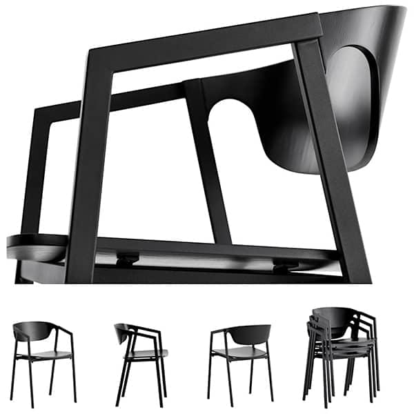 Den kan stables stol SAC tre og metall, gir effektiv komfort. WOUD