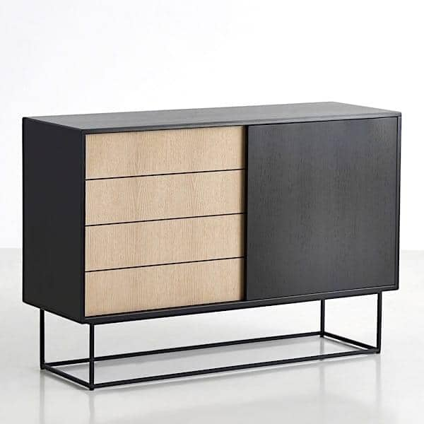 virka sideboard wood and metal sliding doors woud. Black Bedroom Furniture Sets. Home Design Ideas