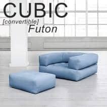 CUBIC, una butaca de futón convertible en un puf o una cama cómoda y acogedora, para adultos