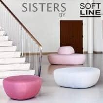 SISTERS, uma coleção de três pufes, orgânicos, esculturais e versátil. SOFTLINE
