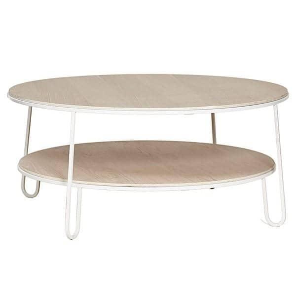 Table basse EUGÉNIE par HARTÔ, plaqué chêne et tubes d'acier