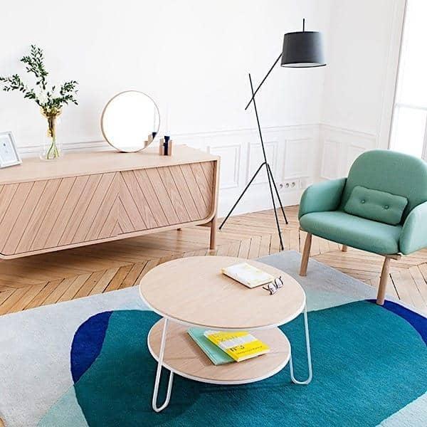 Coffee table Eugénie by Hartô, oak veneer and steel tubes