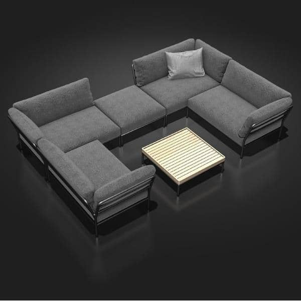 Muebles de jardín LEVEL para componer, alta calidad, sofá, otomana y mesa de centro