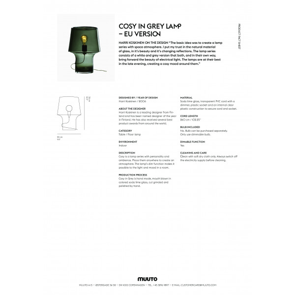 Cosy in grey lamp EU