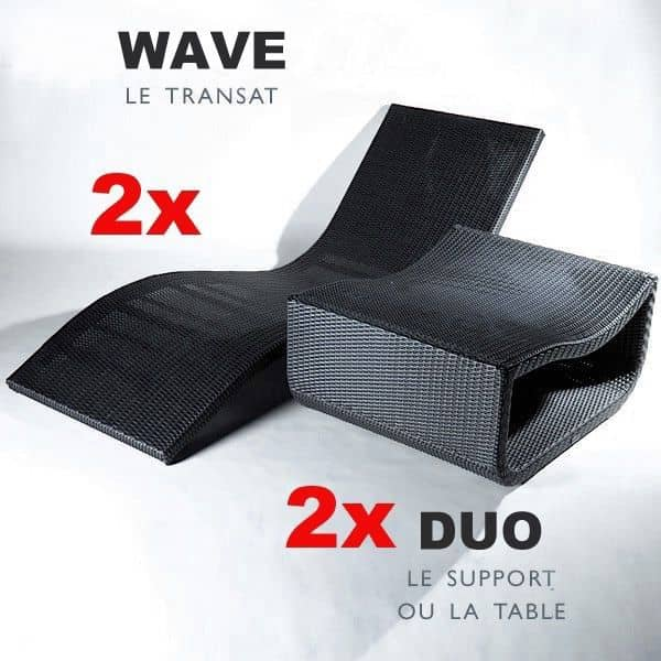 Pack Outdoor Plus : 2 transats WAVE + 2 Tables DUO, lignes élégantes et arrondies