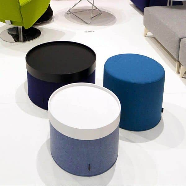 DRUMS is a functional pouf and side table, SOFTLINE