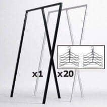 SET : 1 LOOP stå garderobe + 20 sorte wire bøjler, HAY : nordisk design på sit bedste pris
