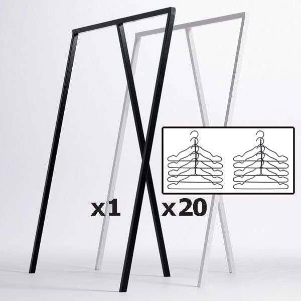 SET: 1 LOOP stand wardrobe + 20 black wire hangers, HAY : nordic design at its best price