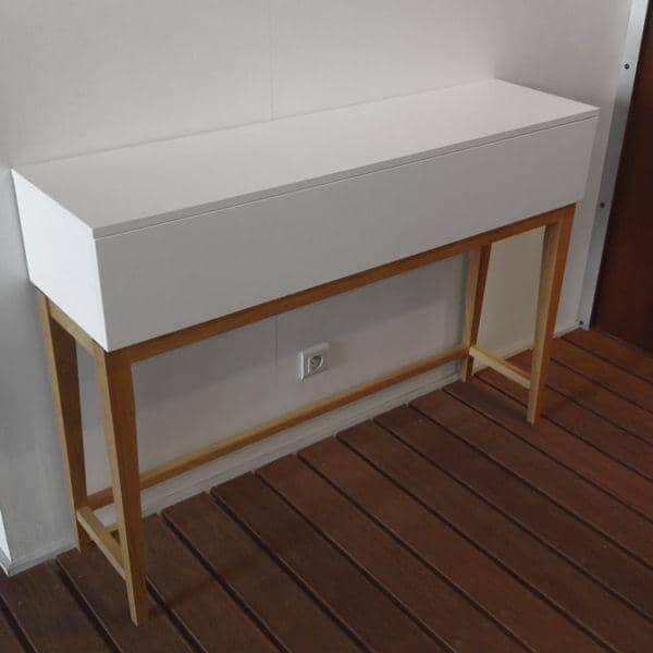 la console design blanco pieds et structure en ch ne massif bois peint blanc mat co d co et. Black Bedroom Furniture Sets. Home Design Ideas