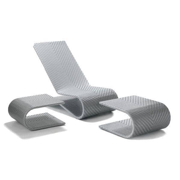 1 fauteuil avec son matelas, 1 repose pieds et 1 table d'appoint : EQUILIBRIO, structure aluminium, résine tressée traitée anti-UV