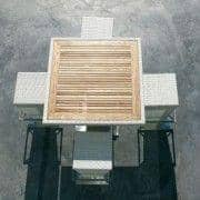 COMPACT HI 、高テーブル・バースツール、編組高品質樹脂、 UV耐性