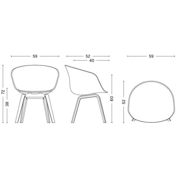 Le fauteuil About a Chair par HAY - réf. AAC22 et AAC42 - assise en polypropylène, coussin fixe en option, piétement en chêne, 2