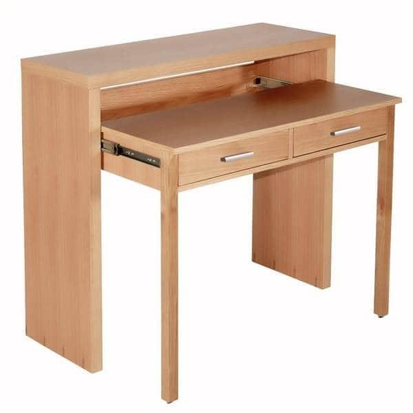 La console bureau munie de deux tiroirs laqu e blanc ou for Console de bureau