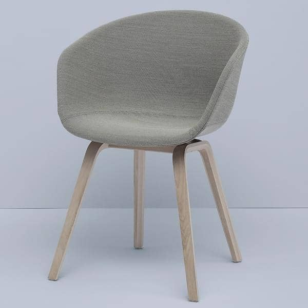 ABOUT A CHAIR - ref. AAC23 and AAC43 - Polypropylene shell, Upholstered seat, Oeko-Tex Foam, legs in wood, 2 heights are available, HEE WELLING