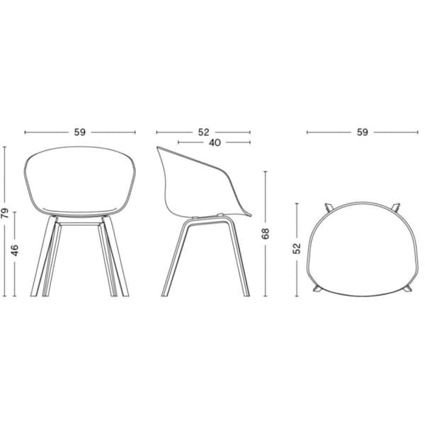 ABOUT A CHAIR -. ref AAC23 y AAC43 - asiento tapizado, patas de madera, 2 alturas para el asiento, HEE WELLING, HAY
